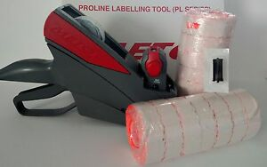 622 Price Labeling Gun value Pack Gun Box Fluro Red Labels Free Ink Roller