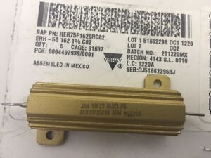 Rer75f1620rc02 Vishay 162 Ohms 30 Watts 1 Wirewound Resistor Chassis Mount