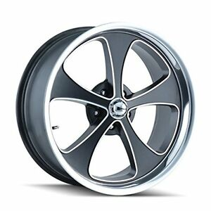 Ridler Style 645 Matte Black Wheel With Machined Face polished Lip 18x8 5x139