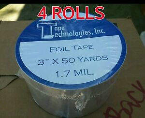 4 Rolls Hvac Self adhesive Tape Hvac Foil Tape 3 X 1 7 Mil X 150 Ft Each