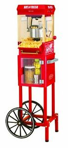 Wheeled Popcorn Popper Cart Nostalgia 10 Cup Vintage Family Game Room Entertain