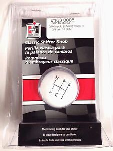 Hurst 1630008 White Classic Ball Shifter Knob 5 speed 3 8 16 Threads
