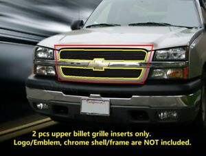 Black Upper Billet Grille Grill For 2002 2006 Chevy Avalanche 03 05 Silverado