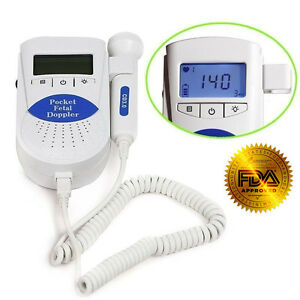 B Fetal Doppler backlight Lcd baby Heart Monitor 3mhz Probe gel Fda