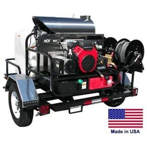 Pressure Washer Hot Water Trailer Mount 200 Gal 5 5 Gpm 3500 Psi 115v
