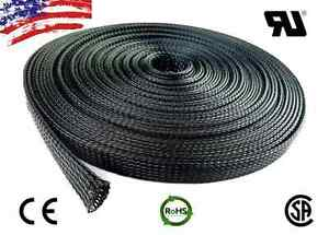50 Ft 3 8 Black Expandable Wire Cable Sleeving Sheathing Braided Loom Tubing Us