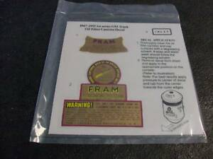 Vintage Style Fram Oil Filter Housing Decal Chevy Gm 40 S 50