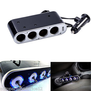 4 Way Multi Socket Car Cigarette Lighter Splitter Usb Charger Adapter Dc 12 24v