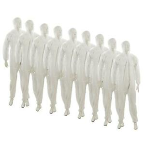 10 Disposable Paper Suit Protective Overall Coveralls Xxl 146cm 58