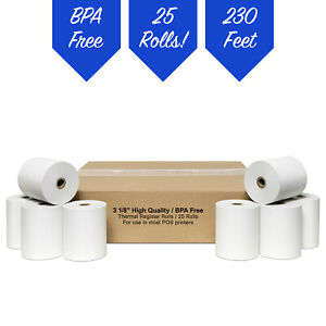 3 1 8 X 230 White Thermal Pos Receipt Paper 25 Rolls free Shipping
