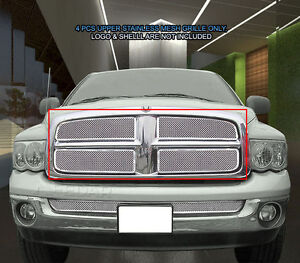 For 2002 2005 Dodge Ram 1500 2500 3500 Stainless Mesh Grille Grill Upper