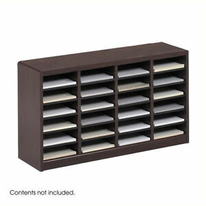 Safco E z Stor Mahogany Wood Mail Organizer 24 Compartments