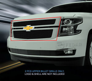 Black Billet Grille Front Upper Grill Fits 2015 2019 Chevy Tahoe Suburban