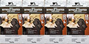 Lot Of 48 Pairs Wells Lamont Large Men s Nitrile Coated Work Gloves Free Ship