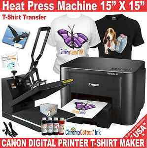 Heat Press 15x15 Transfer Sublimation Canon Printer T shirt Maker Startup Pack