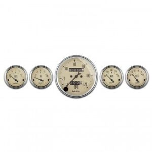 Autometer Antique Beige 5 Gauge Kit Mechanical Speedometer