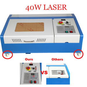40w Co2 Laser Engraving Engraver Cutter Lcd Display Water Temperature Wheels