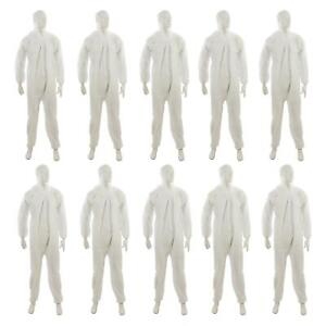 10 Disposable Paper Suit Protective Overall Coveralls Large 128cm 50