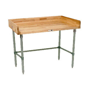 John Boos Dsb06 Wood Top Work Table W Stainless Base 48 W X 30 D