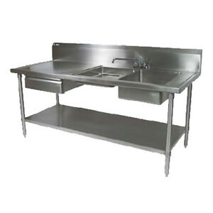 John Boos Ept6r10 dl2b 72r Work Table W Right End Prep Sink 72 X 30