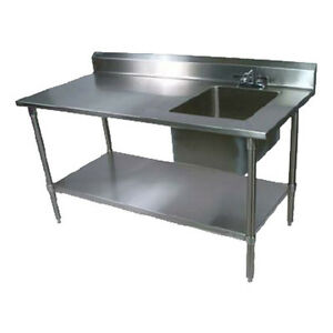 John Boos Ept6r5 3072gsk r Work Table W Right End Prep Sink 72 X 30