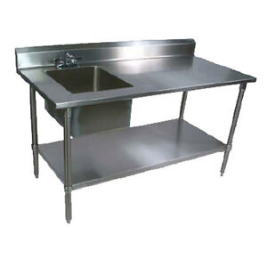 John Boos Ept6r5 3072ssk l Work Table W Left End Prep Sink 72 X 30