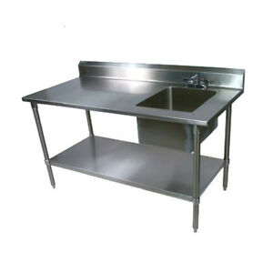John Boos Ept8r5 3072gsk r Work Table W Right End Prep Sink 72 X 30 18 Gauge