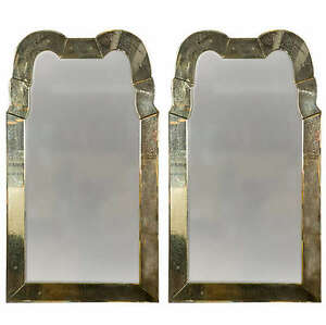 Pair Of Queen Anne Style Venetian Glass Mirrors 101 5691