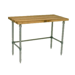John Boos Snb17 Wood Top Work Table Stainless Bracing 96 w X 36 d
