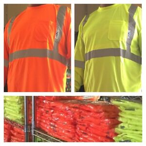 Wholesale Lot Of 12 Safety Reflective Long Sleeve Shirts From Medium 4x