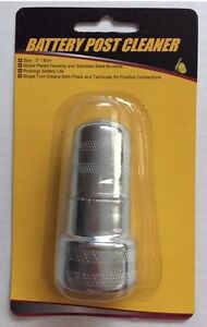 Battery Terminal Post Cleaner 2 Piece Tool Wire Brush New