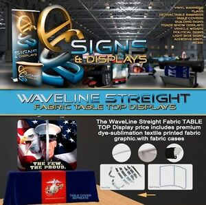 8ft Waveline Table Top Straight Fabric Display With Carry Case
