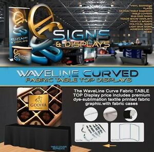 6ft Waveline Table Top Curved Fabric Display With Carry Case