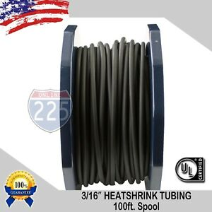100 Ft 100 Feet Black 3 16 5mm Polyolefin 2 1 Heat Shrink Tubing Tube Cable Ul