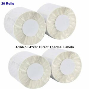 20 Rolls 450 roll 4x6 Direct Thermal Labels For Zebra Eltron 2844 Free Shipping