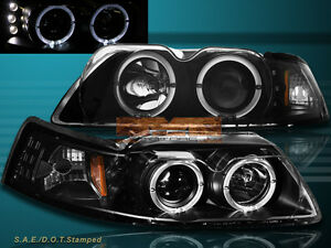 99 04 Ford Mustang Black Twin Halo Led Projector Headlights