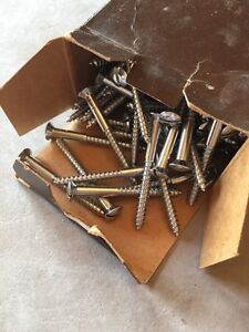 100 Qty Chrome Plated Brass Wood Screws 10 X 2 Slotted Oh classic Wood Boat