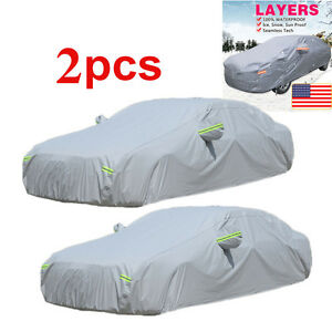 2pcs Layers Cotton Lining Seamless Car Auto Cover Outdoor Universal Resist Proof