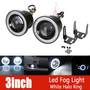2x 3inch 3200lm Round White Angel Eye Halo Led Projector Fog Light 4x4 Atv Truck