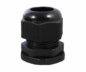1 2 Black Nylon Cable Glands Strain Relief With Gasket And Lock nut 50 Pack