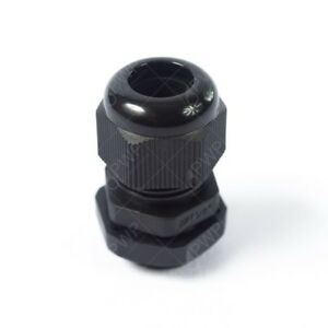 1 4 Black Nylon Cable Glands With Gasket And Lock nut 10 Pack