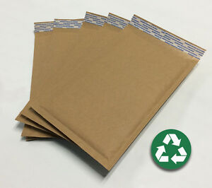 Size 00 5 x9 Recycled Natural Brown Kraft Bubble Mailer usa Made