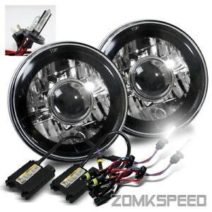 7 Round H6024 Black Crystal Projector Headlights Conversion 6000k H4 2 Hid Kit