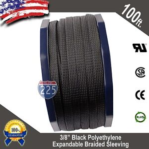 100 Ft 3 8 Black Expandable Wire Cable Sleeving Sheathing Braided Loom Tubing