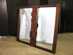 Rare Lane Furniture Mosaic Series Brutalist Style Mirror W Patterned Veneers