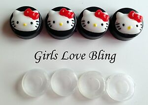 Hello Kitty Red Bow License Plate Frame Screw Covers Black Caps