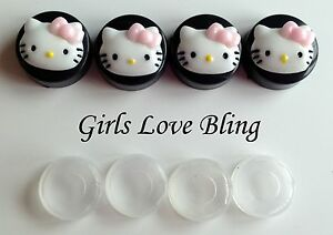 Hello Kitty Pink Bow License Plate Frame Screw Covers Black Caps