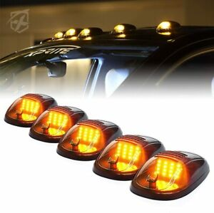 5pcs Roof Top Cab Marker Running Led Lights Set Smoke Lens White Fog Lights