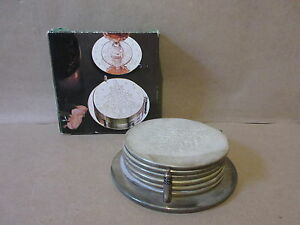 Silver Plated 7 Piece Christmas Coaster Set Deeply Engraved Holiday