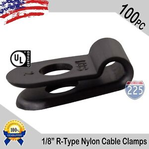 100 Pcs Pack 1 8 Inch R type Cable Clamps Nylon Black Hose Wire Electrical Uv